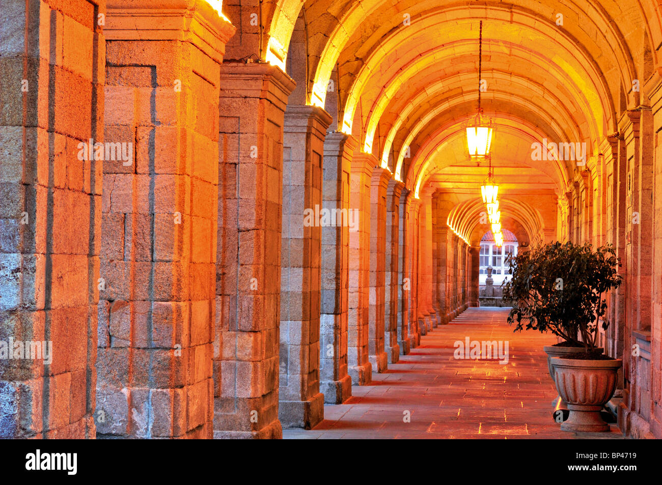 Spain, Galicia: Arcade corridor of the town hall building of Santiago de Compostela Stock Photo