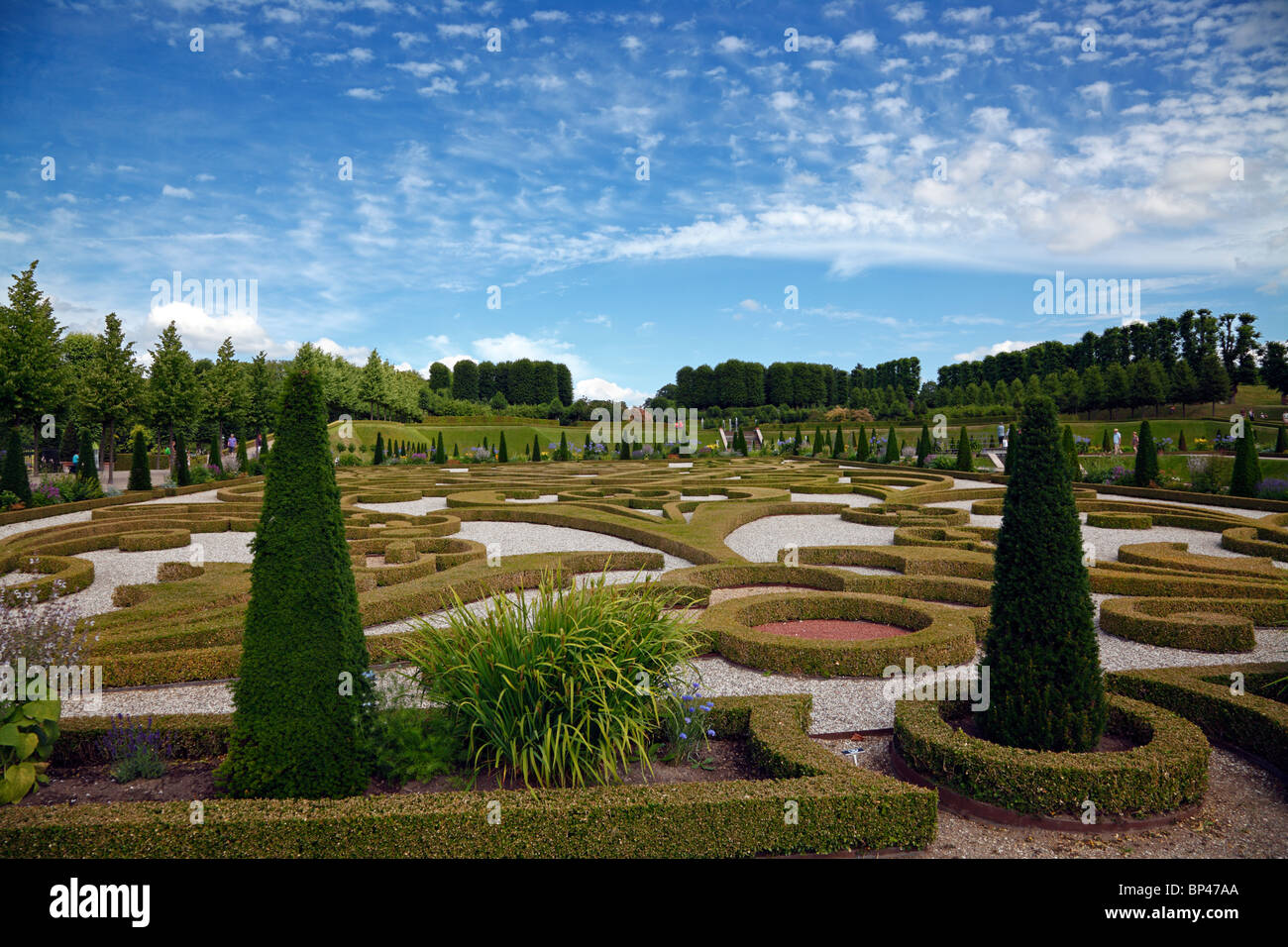 The Baroque Garden at the Frederiksborg Castle in Hillerød, Denmark - Stock Image