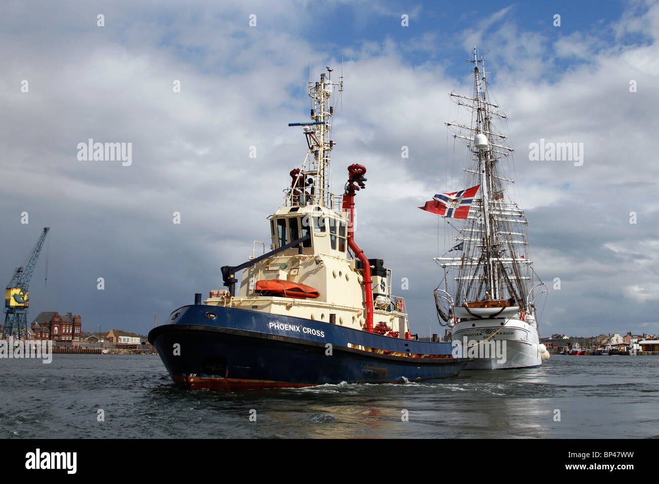 Tugboat Phoenix Cross Class A  towing the Christian Radich; Tall ships at the Hartlepool Festival Race 2010, North Stock Photo