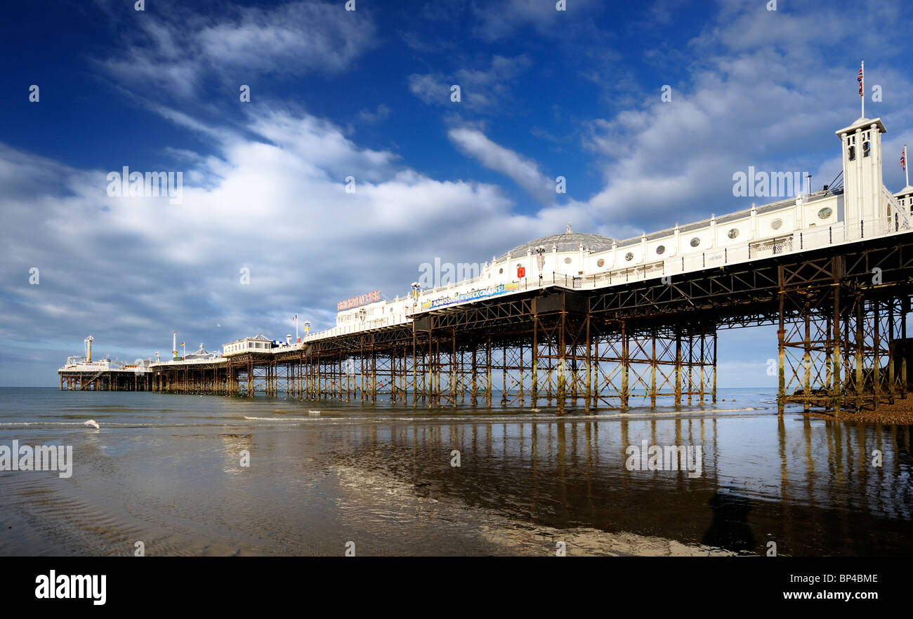 Brighton Pier at dawn with a low tide Stock Photo