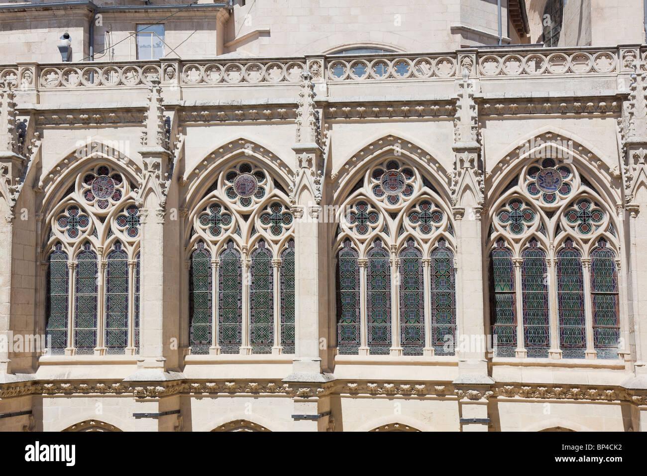 Windows of the cathedral of Burgos, Castilla y Leon, Spain - Stock Image