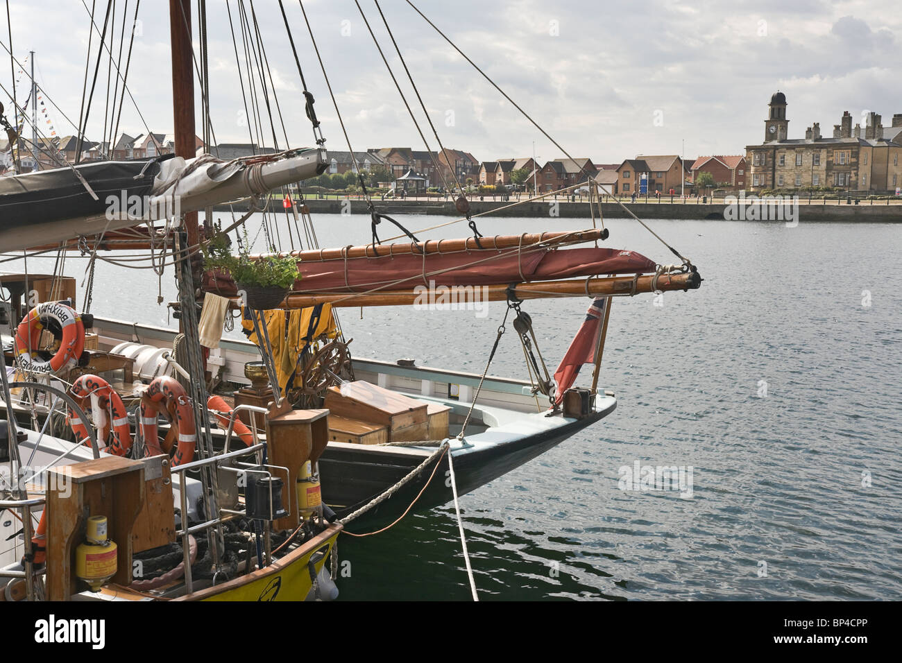 Looking over Hartlepool Marina across the sterns of the Gaff Ketch Provident and the BM Ketch James Cook. Tall ships - Stock Image