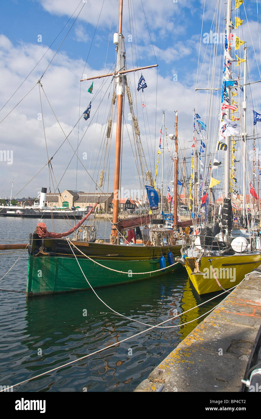 Hartlepool Marina. Looking across one of the sailing boats in the marina for the tall ships race, 2010. - Stock Image
