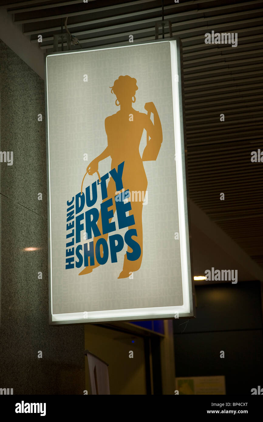 Hellenic Duty Free Shops sign - Stock Image