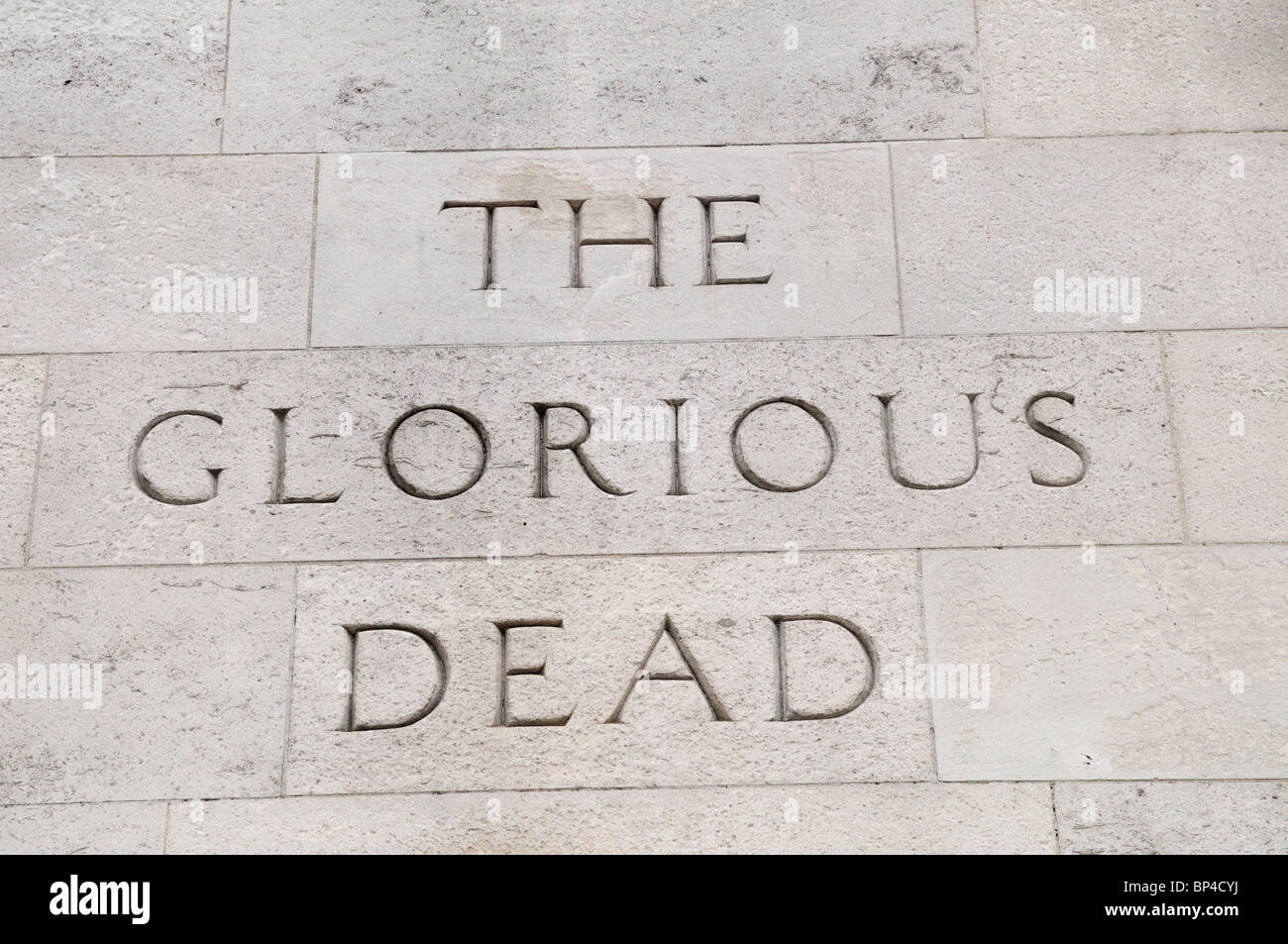 The Glorious Dead inscription on The Cenotaph War Memorial, Whitehall, London, England, UK Stock Photo