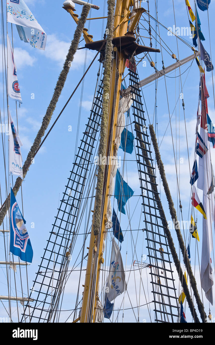 The rear mast of a barquentine sailing ship ( The Dewaruci) belonging to the Indonesian Navy. Tall ships race, Hartlepool, - Stock Image