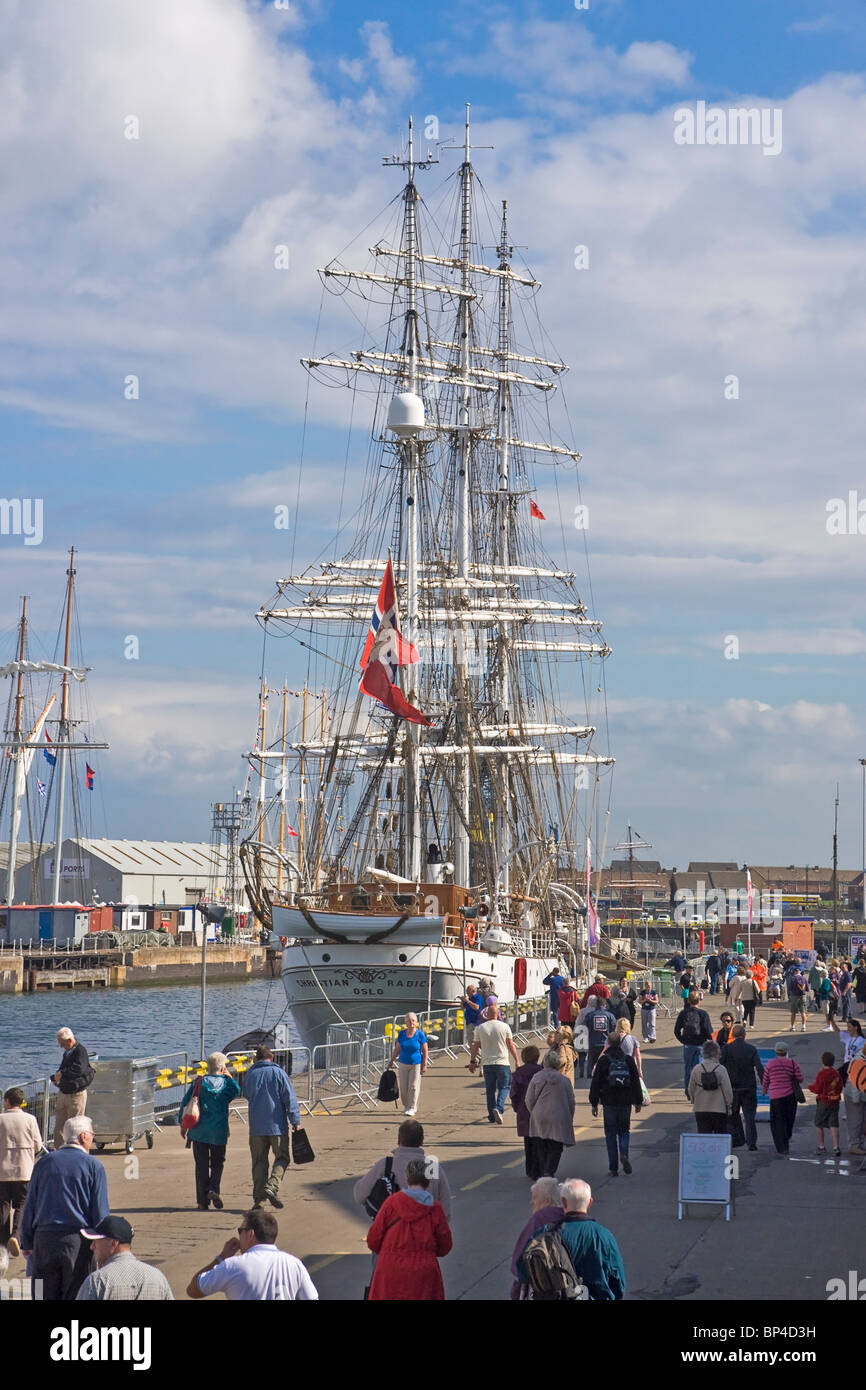 Norwegian square rigged sailing ship (The Christian Radich) at the quayside at Hartlepool during the Tall ships - Stock Image