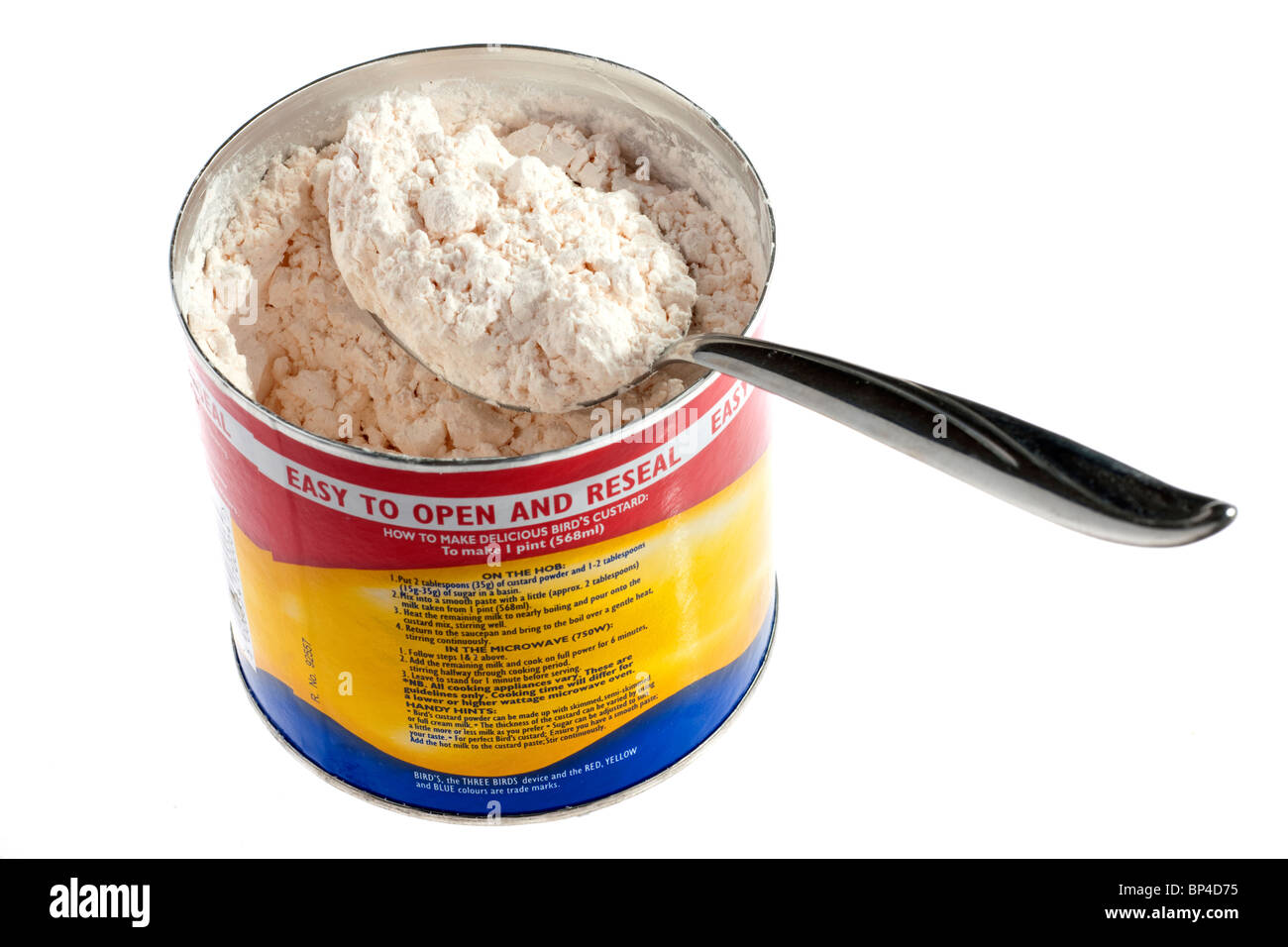 Tablespoonful of powdered custard powder in a Birds container Stock