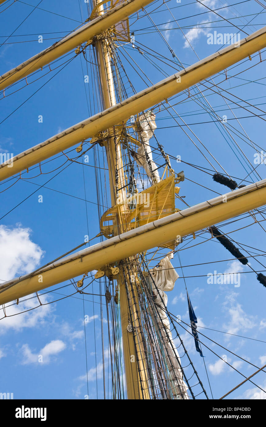 Mast and yards (spars) on a square rigged sailing ship. - Stock Image