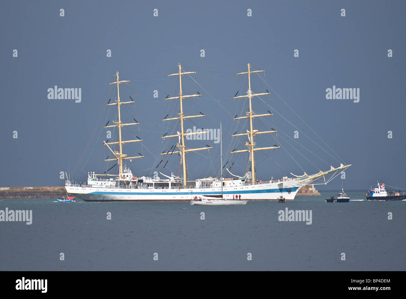 Tall sailing ship leaving Victoria Harbour at Hartlepool during the 2010 Tall Ships' Race. - Stock Image