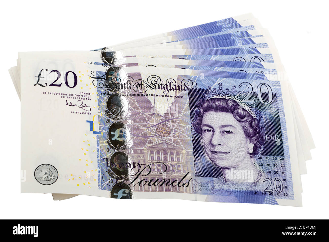 140 pounds in British currency 20 pound notes.  Editorial use only - Stock Image