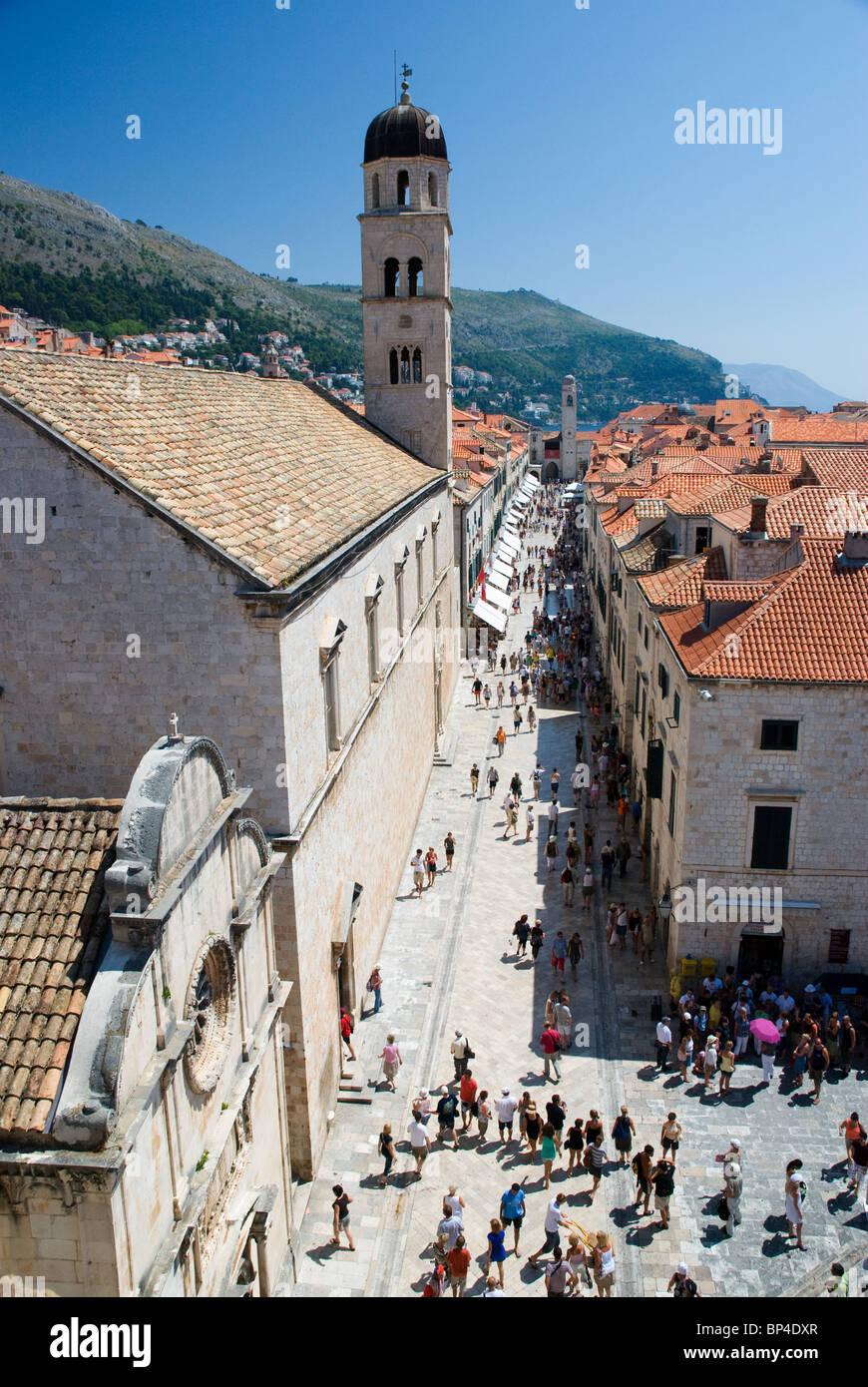 Stradun, Dubrovnik's main street, Dubrovnik Old Town, Dalmatia, Croatia - Stock Image