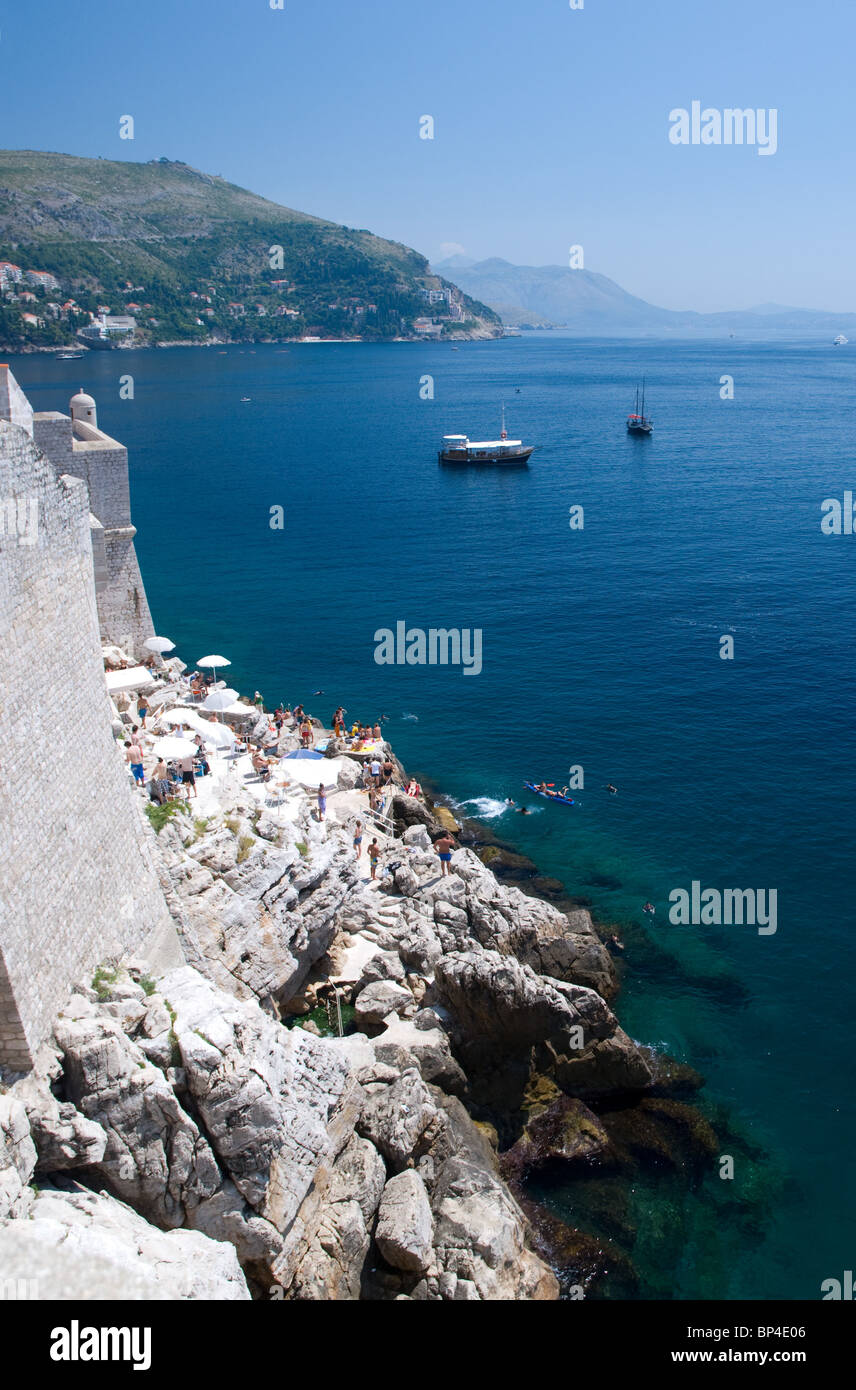Dubrovnik Harbour from the Old Town Walls, Dalmatia, Croatia - Stock Image