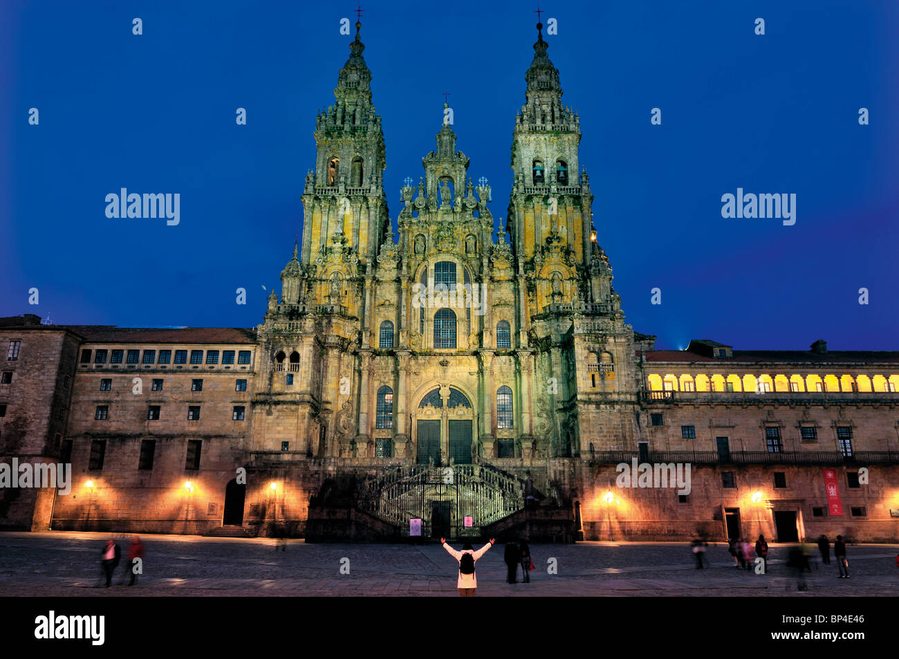 Spain, St. James Way: Cathedral of Santiago de Compostela by night - Stock Image