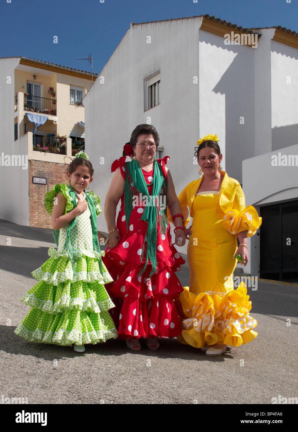 aeb167d91ec5 Women in traditional flamenco dress. Prado del Rey, Sierra de Cadiz,  Andalucia, Spain.