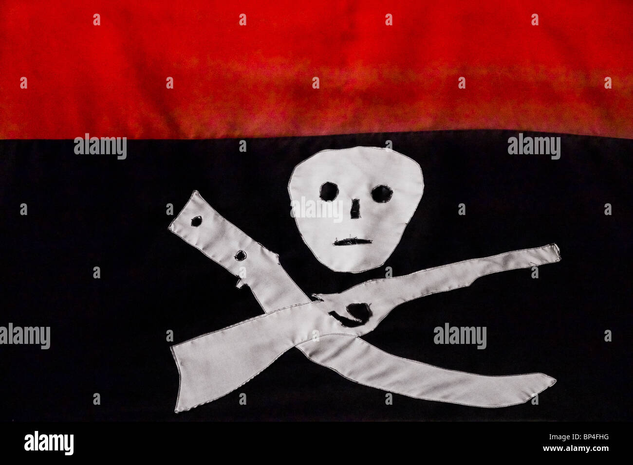 The black-and-red flag of the FSLN has been used by Sandinistas during the guerrilla war in the 1970s, Leon, Nicaragua. - Stock Image