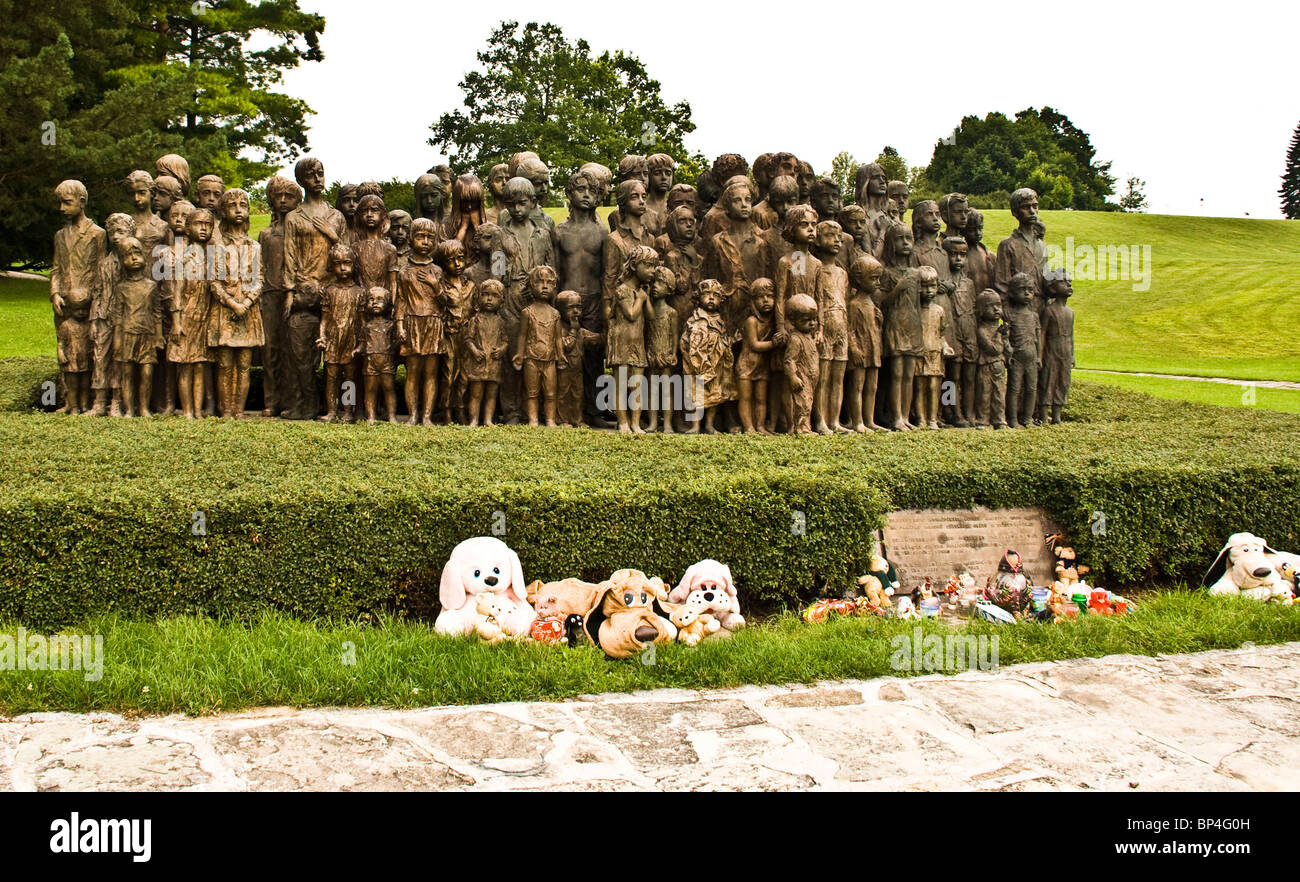 Bronze statues of 82 children massacred during WW 11 at Lidice near Prague Czech Republic Europe Stock Photo
