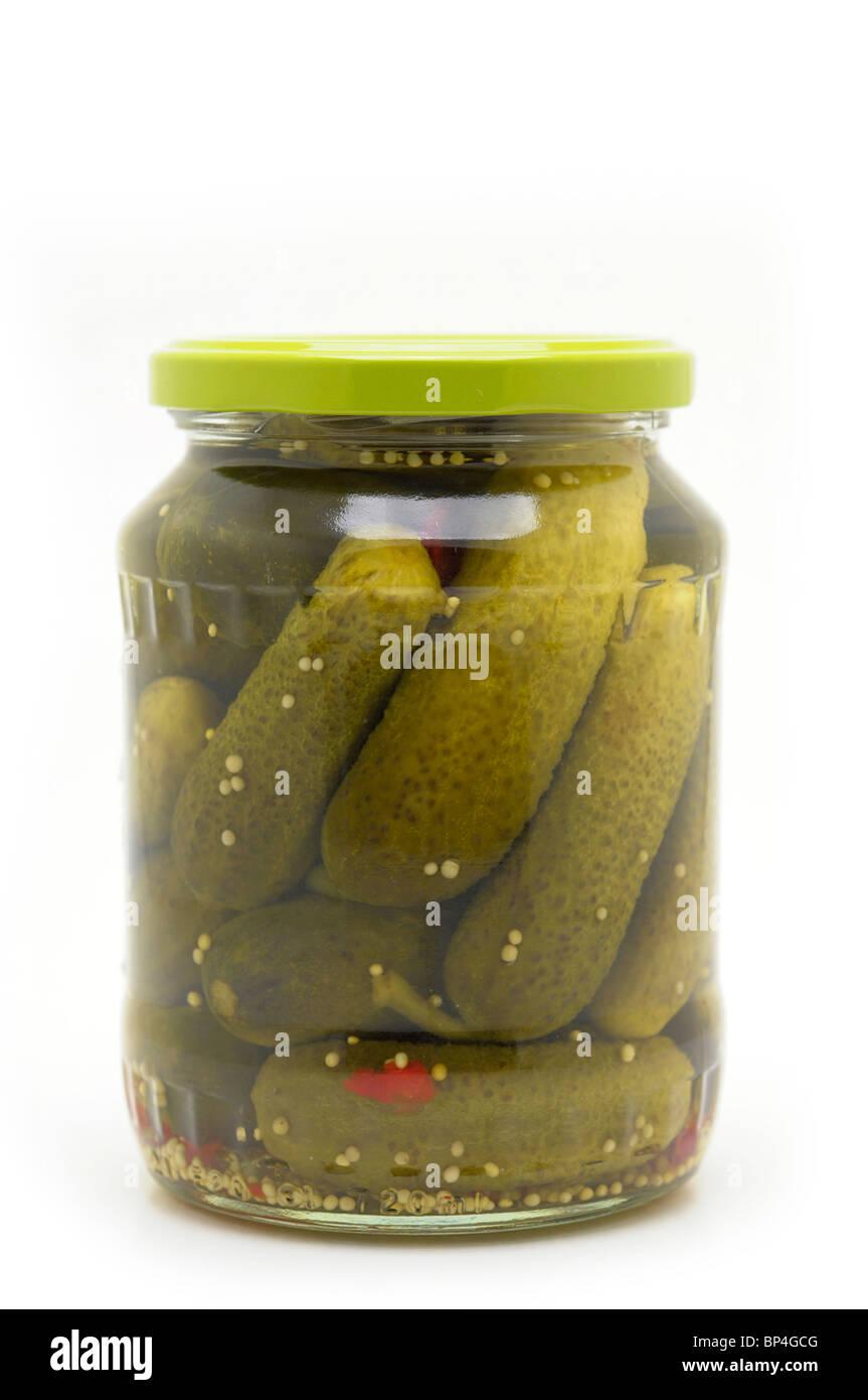 Jar of Pickles - Pickled Gherkins - Stock Image
