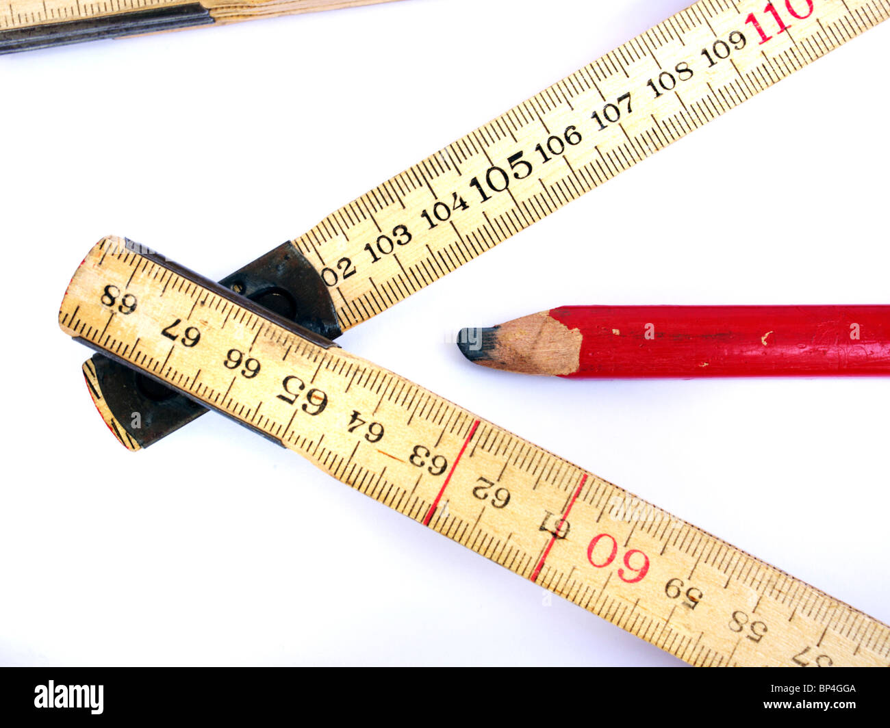 Tape measure and carpenter's pencil - Stock Image