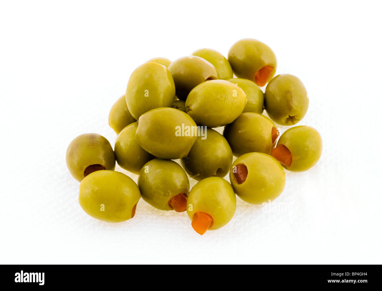 Pitted Green Olives stuffed with Pimiento - Stock Image