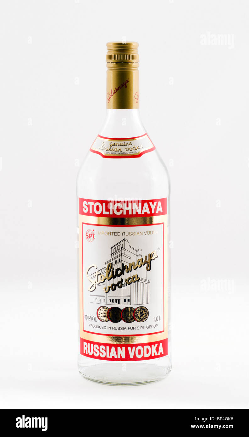 Bottle of Stolichnaya Russian vodka - Stock Image
