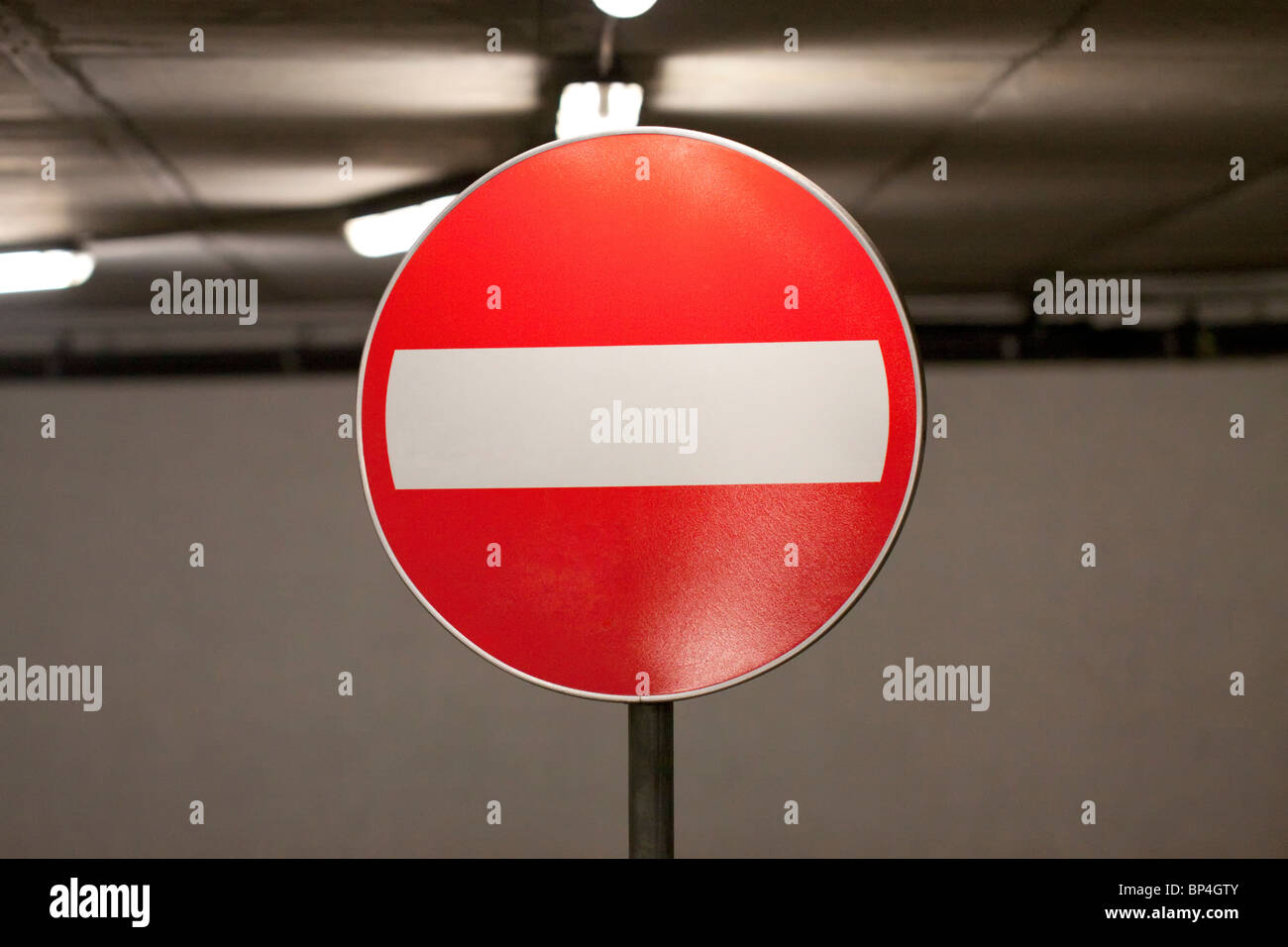 No Entry sign in an indoor parking garage - Stock Image