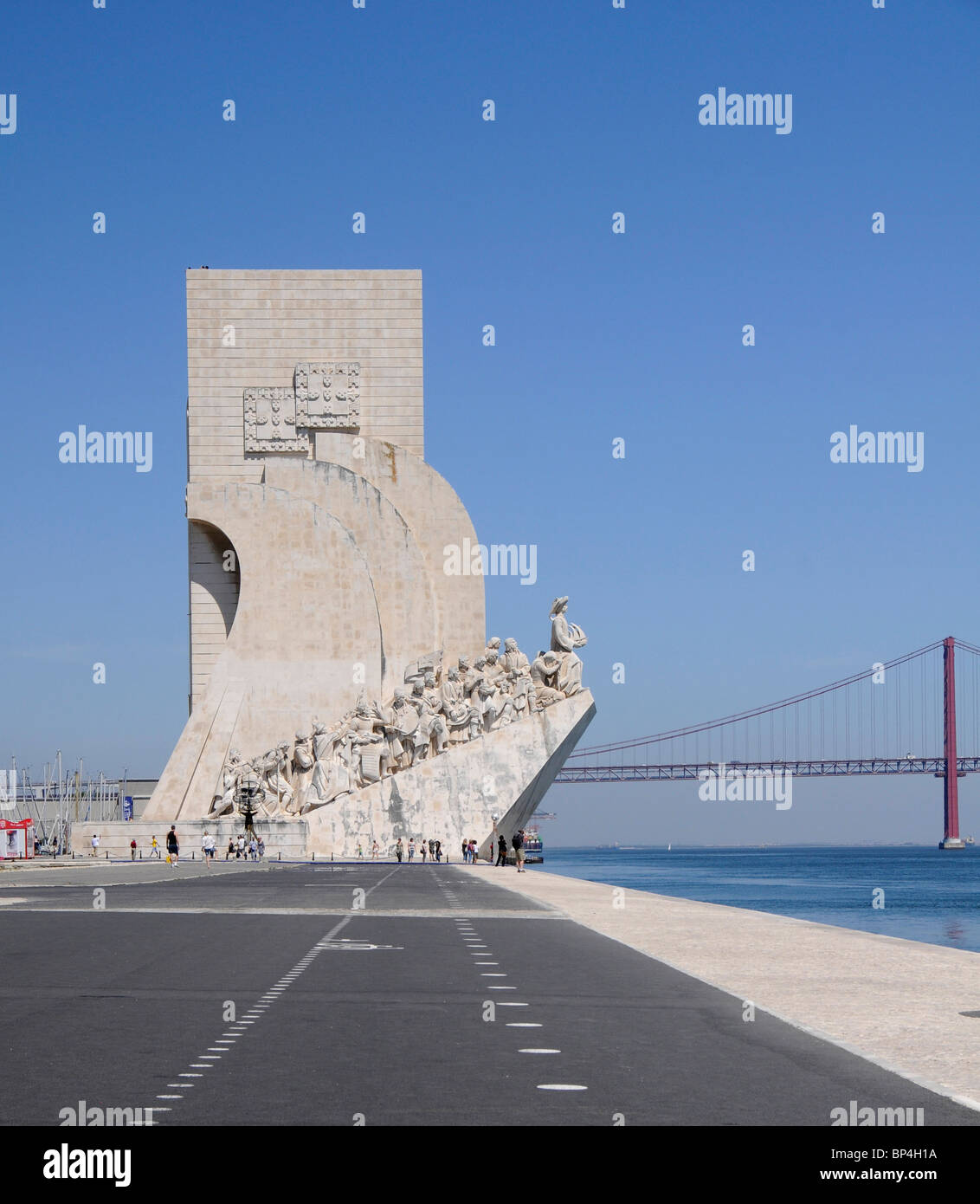 Monument to the Discoveries (Padrao dos Descobrimentos) showing Portuguese explorers in the Belem  district of Lisbon, - Stock Image