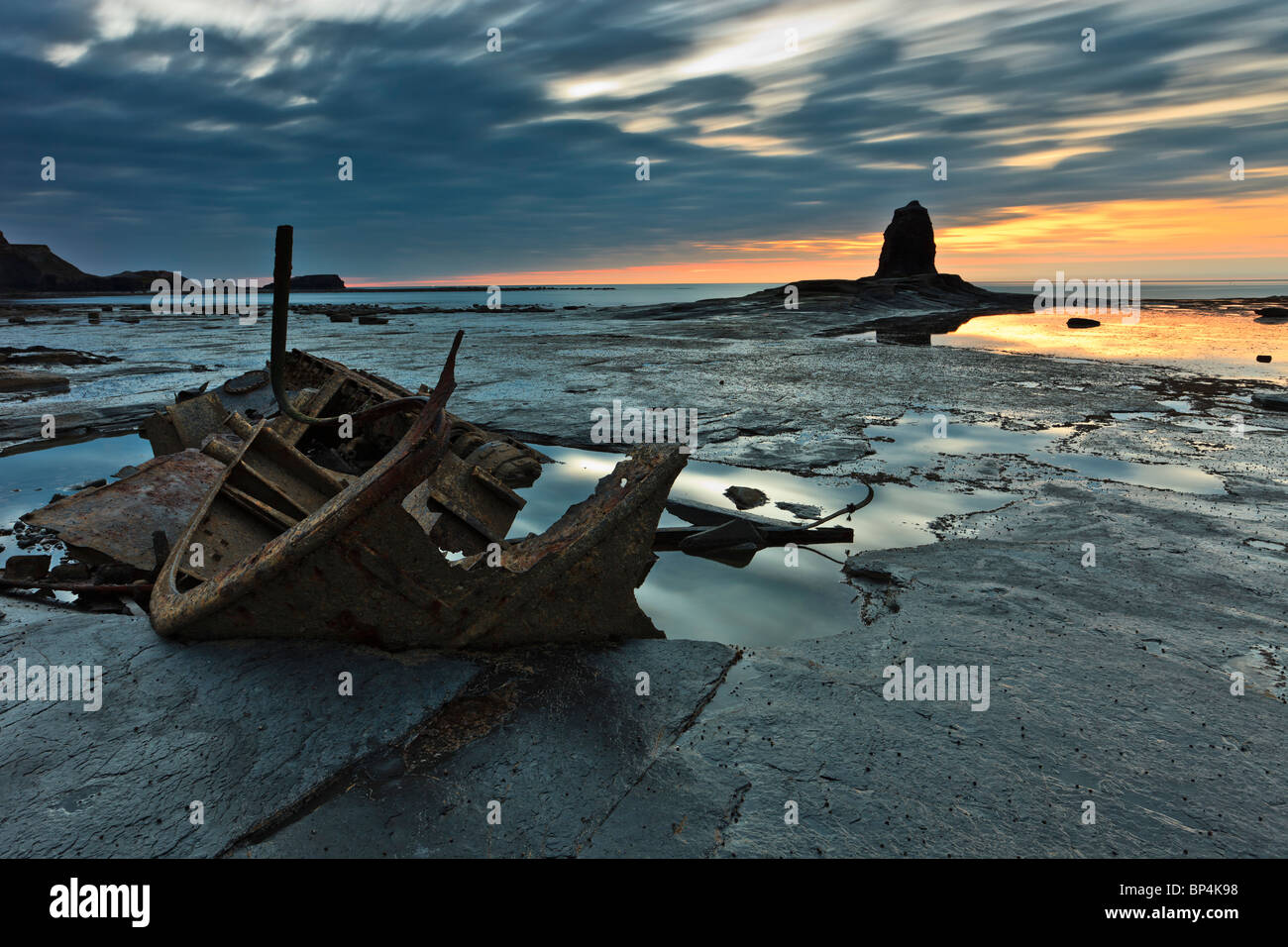 The wreck of the Admiral Von Trump and Black Nab at sunset - Stock Image