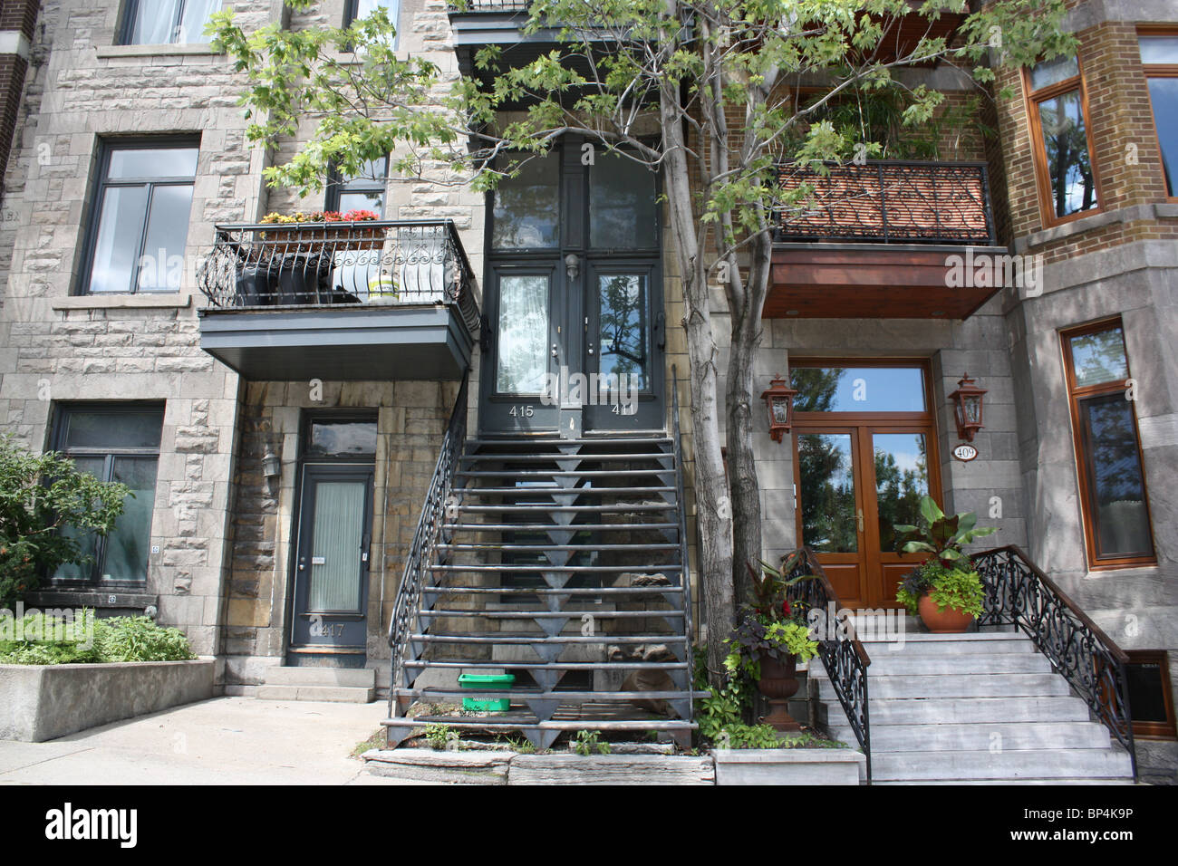 residential townhouse Montreal summer sunny - Stock Image