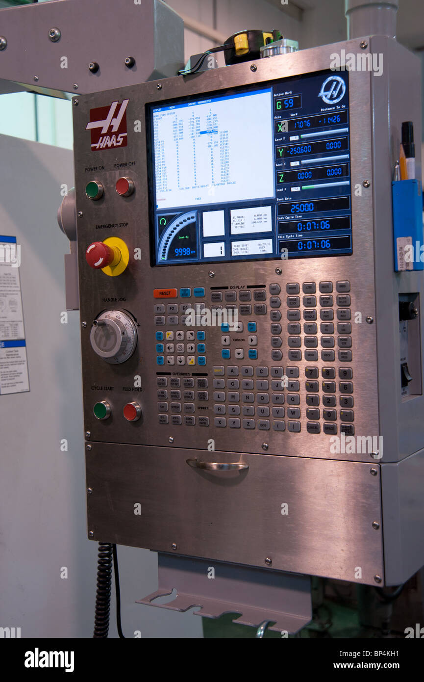 Metal tooling shop floor. CNC (computed numerically controlled) panel - Stock Image