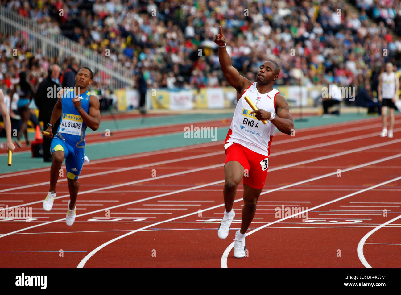 Mark Lewis-Francis running the final leg for England A 4x100m Relay Aviva London Grand Prix, Crystal Palace, London. - Stock Image