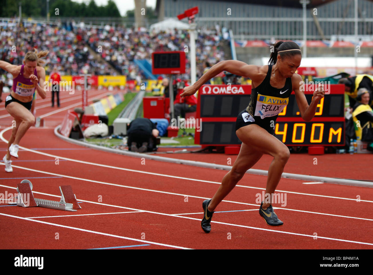 Allyson FELIX winner of the 400m women's race at Aviva London Grand Prix, Crystal Palace, London. - Stock Image