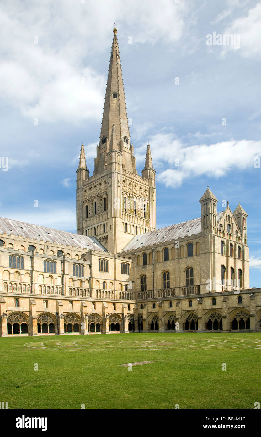 Spire cloisters Norwich cathedral England - Stock Image