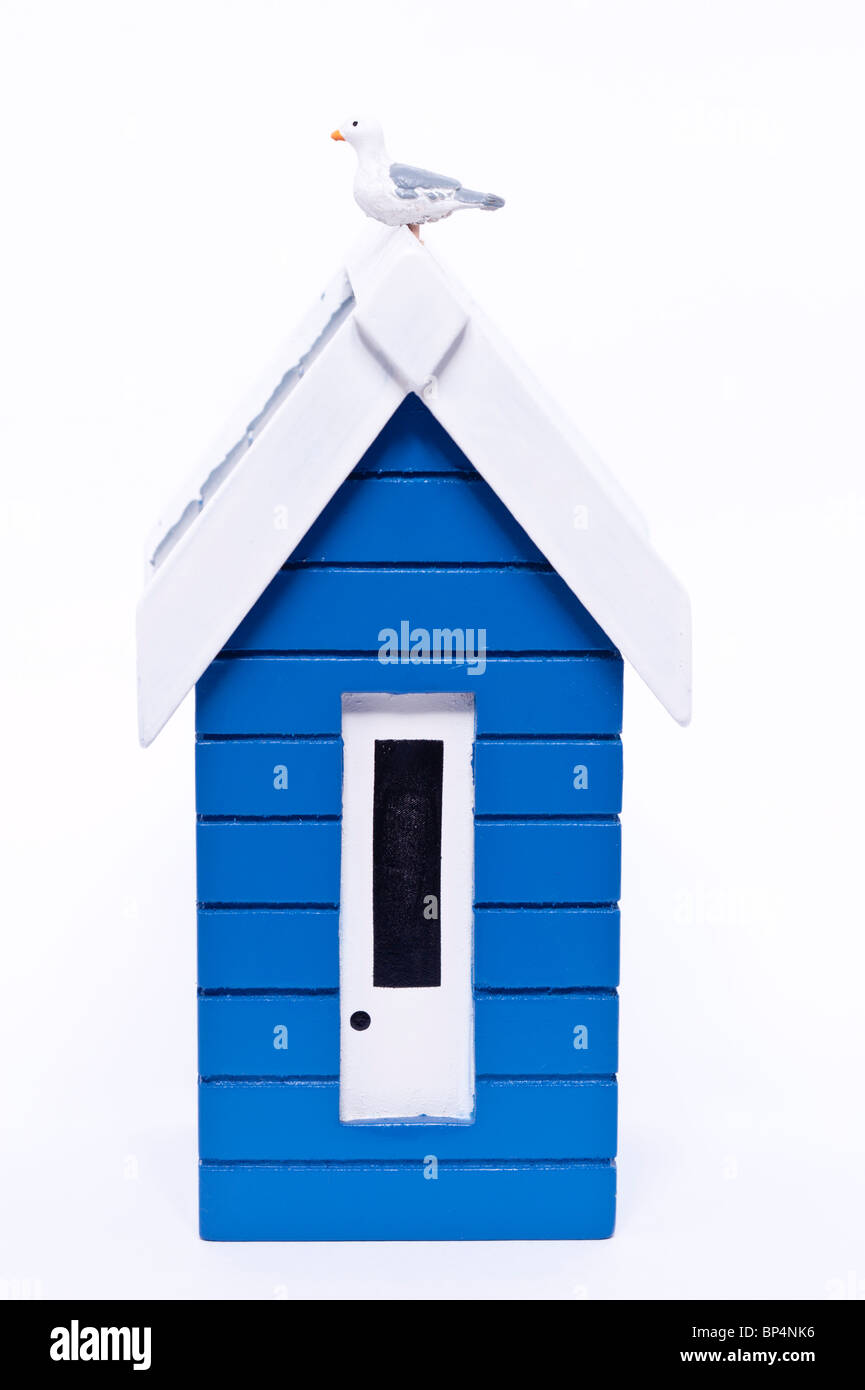 A cut out of a beach hut on a white background - Stock Image