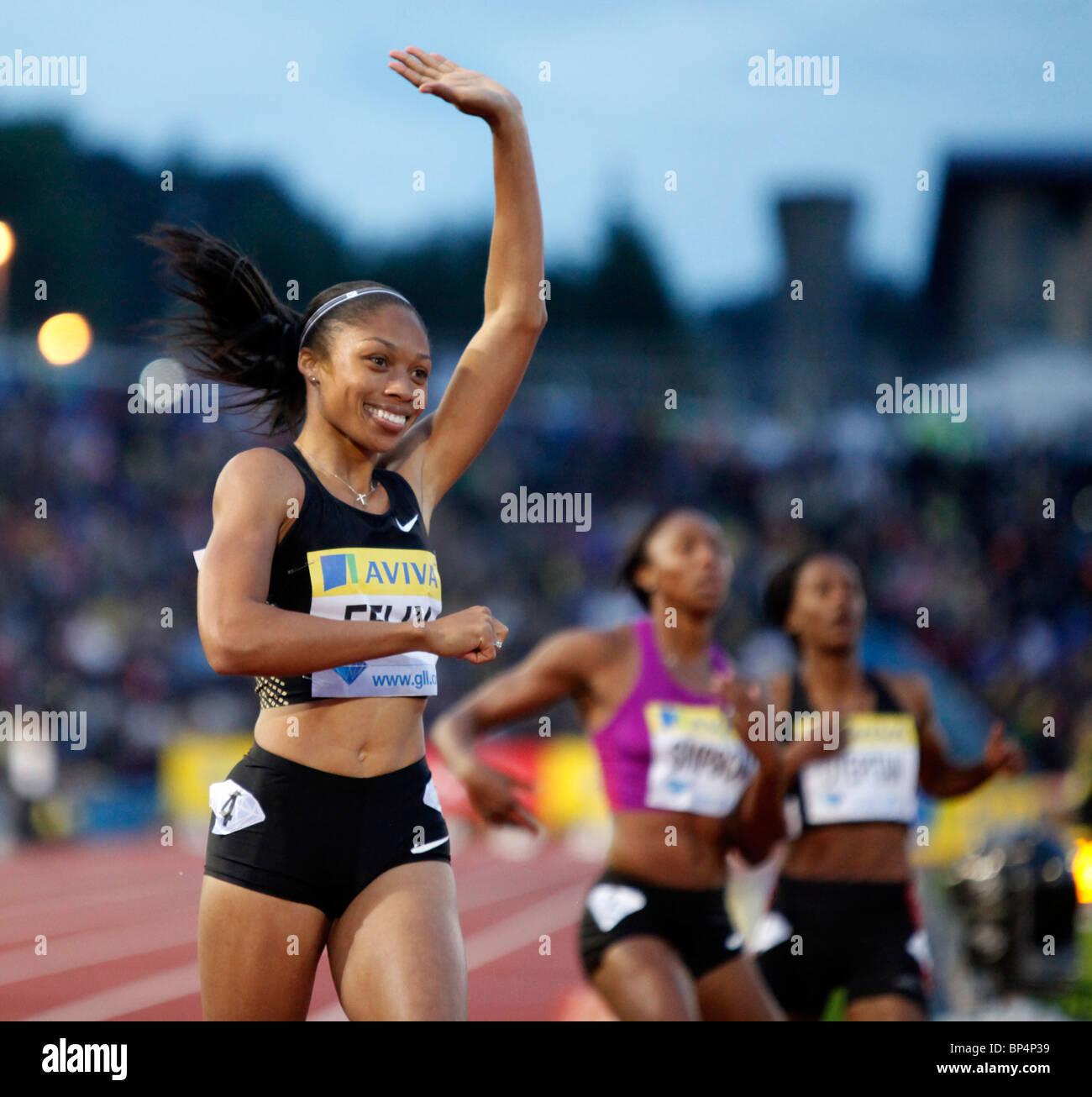 Allyson FELIX 200m women's race at Aviva London Grand Prix, Crystal Palace, London. - Stock Image