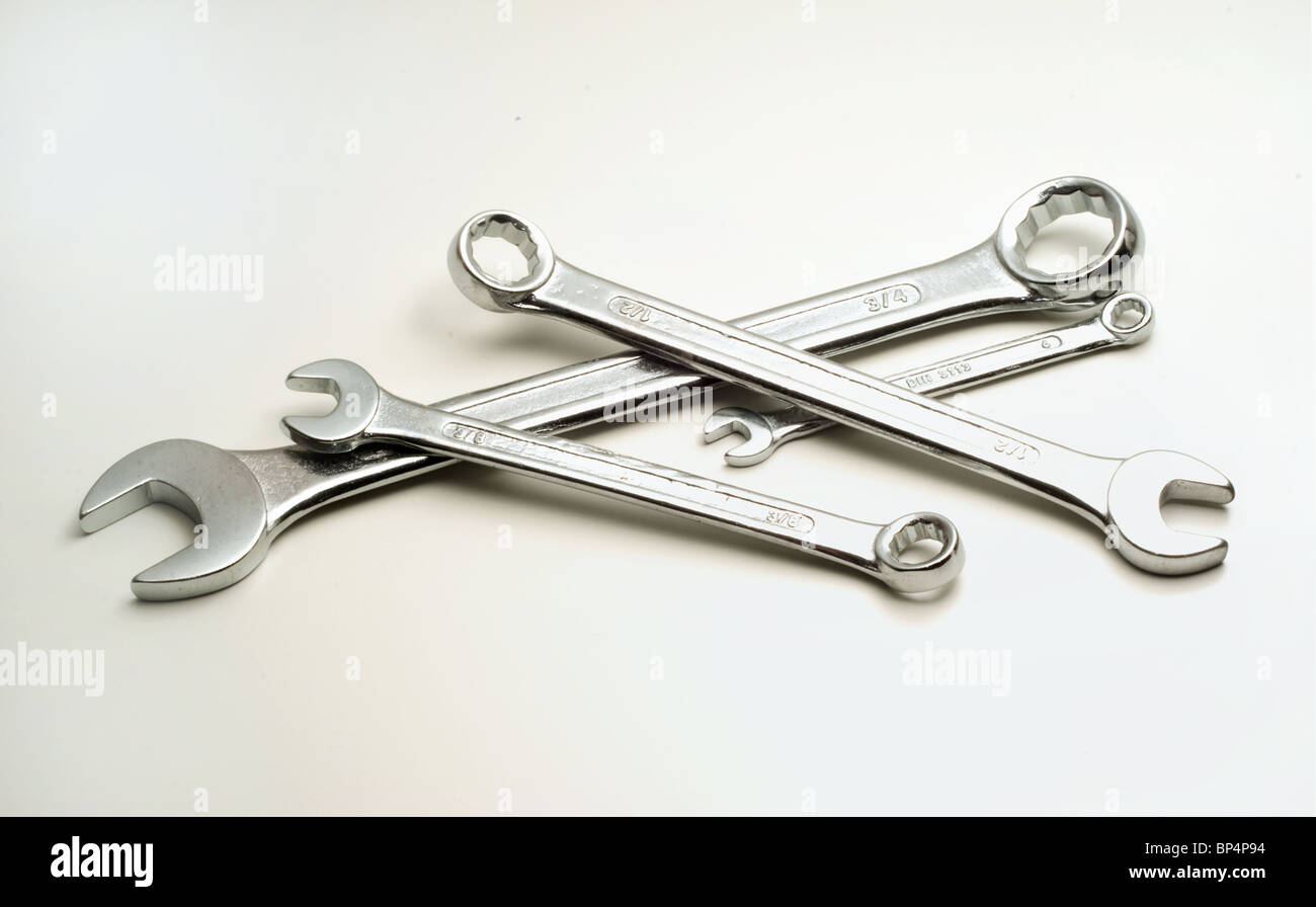 four spanners on a white background - Stock Image