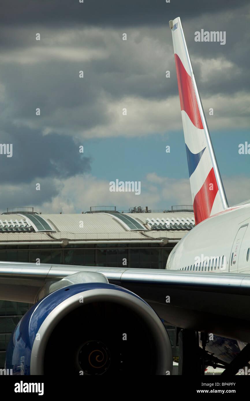 British Airways tailfin at Heathrow Terminal 5, London, UK - Stock Image