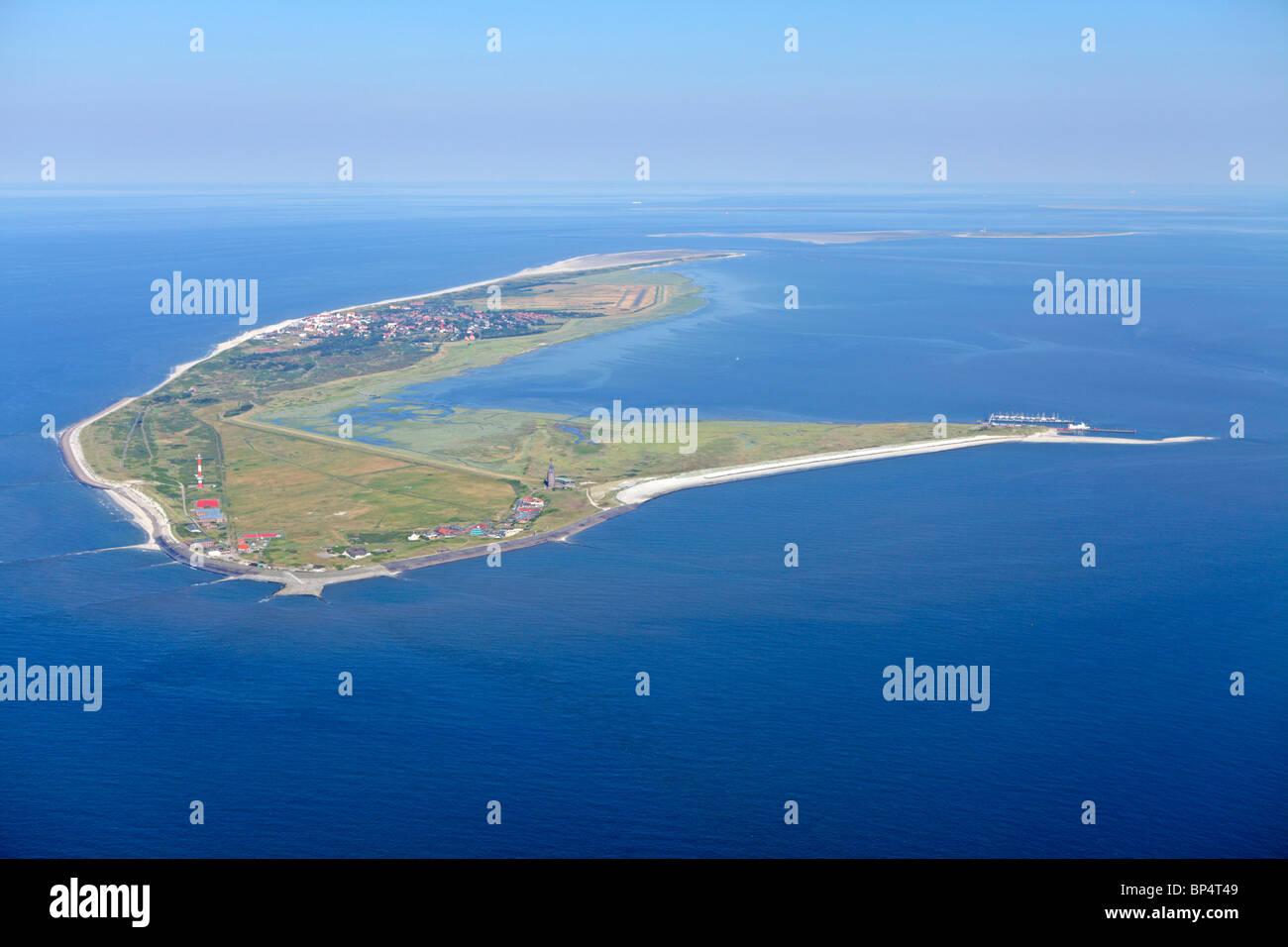 aerial photo of Wangerooge island, East Friesland, Lower Saxony, Germany Stock Photo