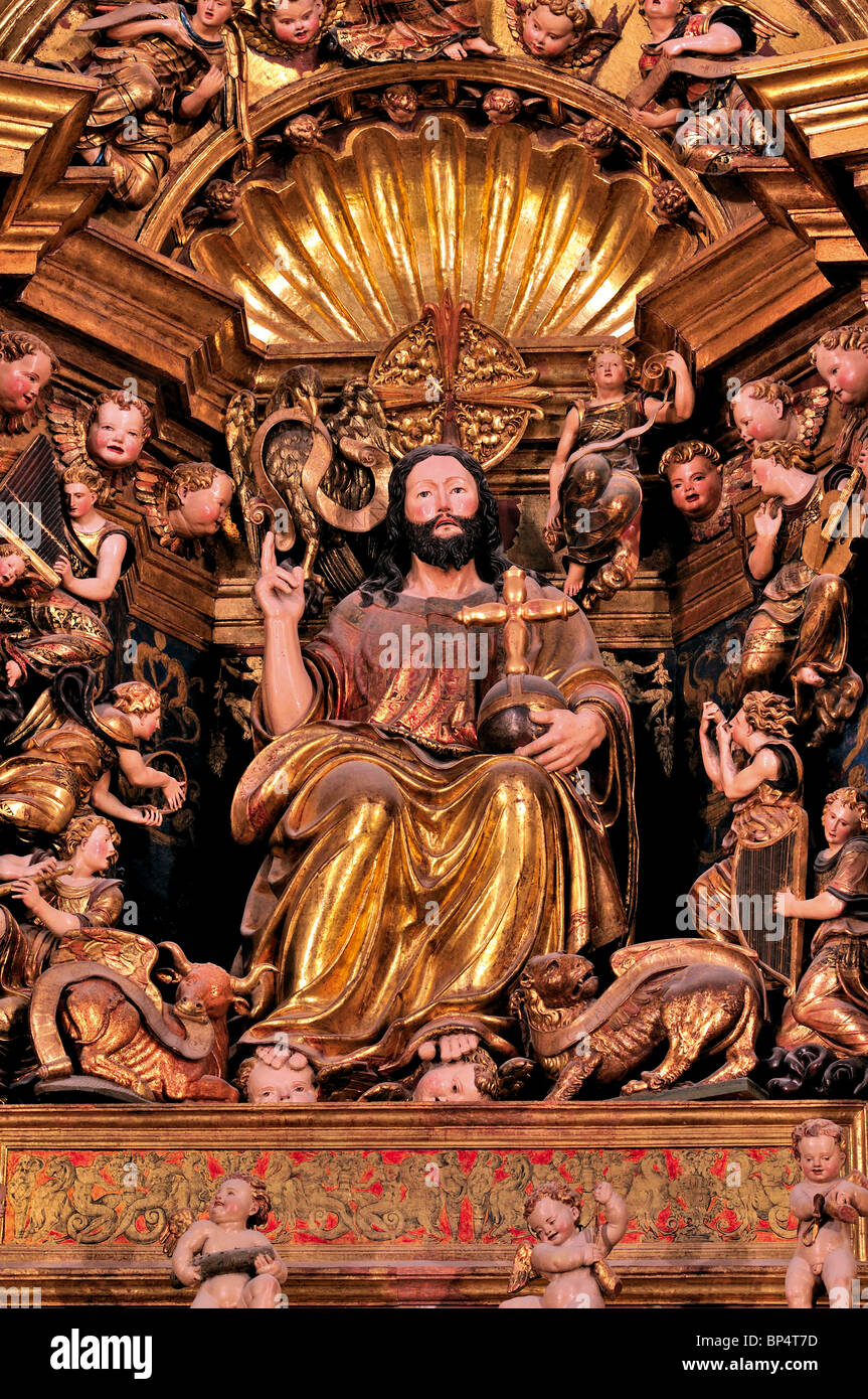 Spain, St. James Way: Detail of the main altar of Santo Domingo de la Calzada´s cathedral - Stock Image