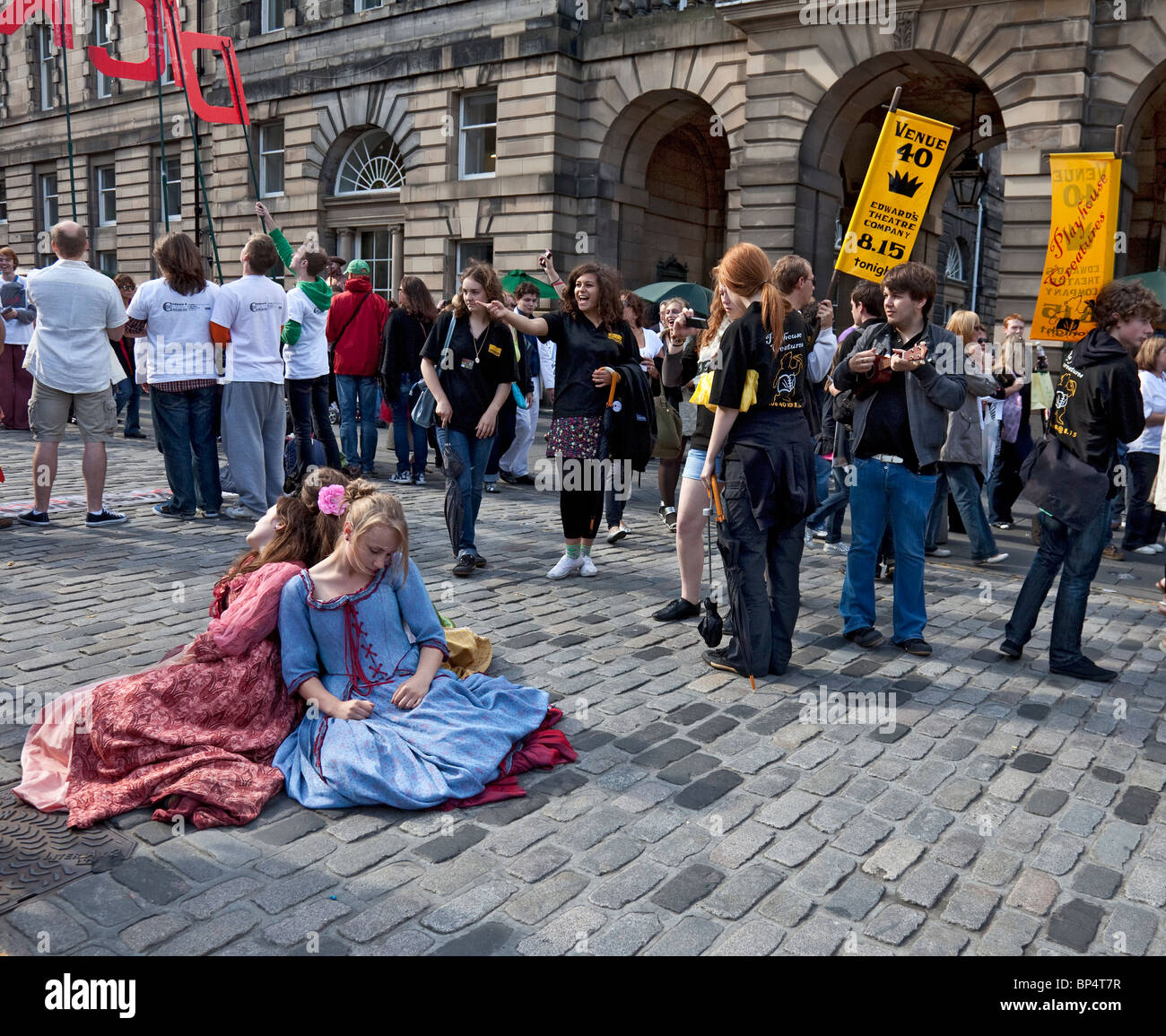 Young actresses promoting their Restoration drama Playhouse Creatures in the Royal Mile / High Street, Edinburgh - Stock Image