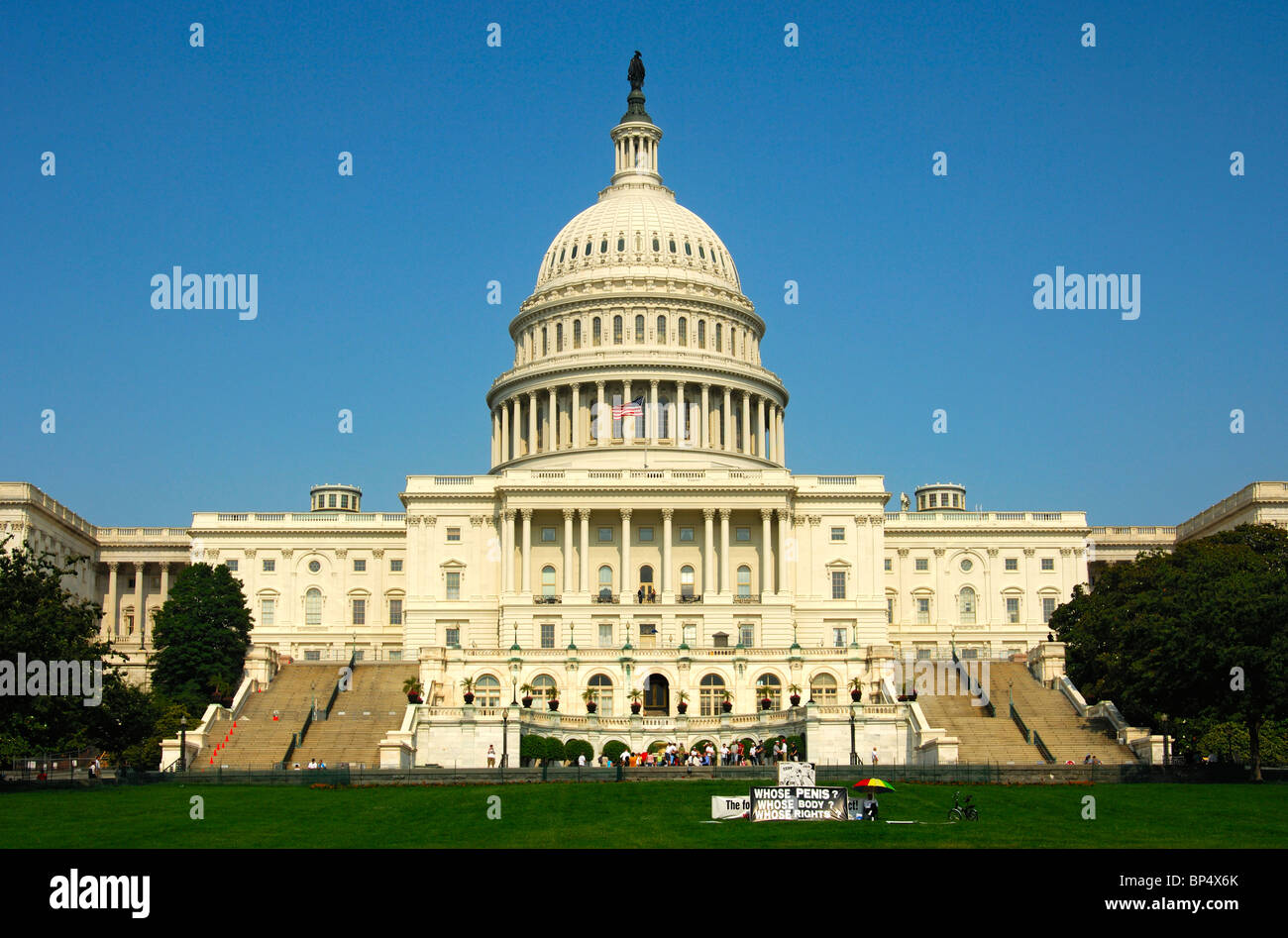 Protest against the male genital mutilation through circumcision in front of the United States Capitol, Washington, - Stock Image