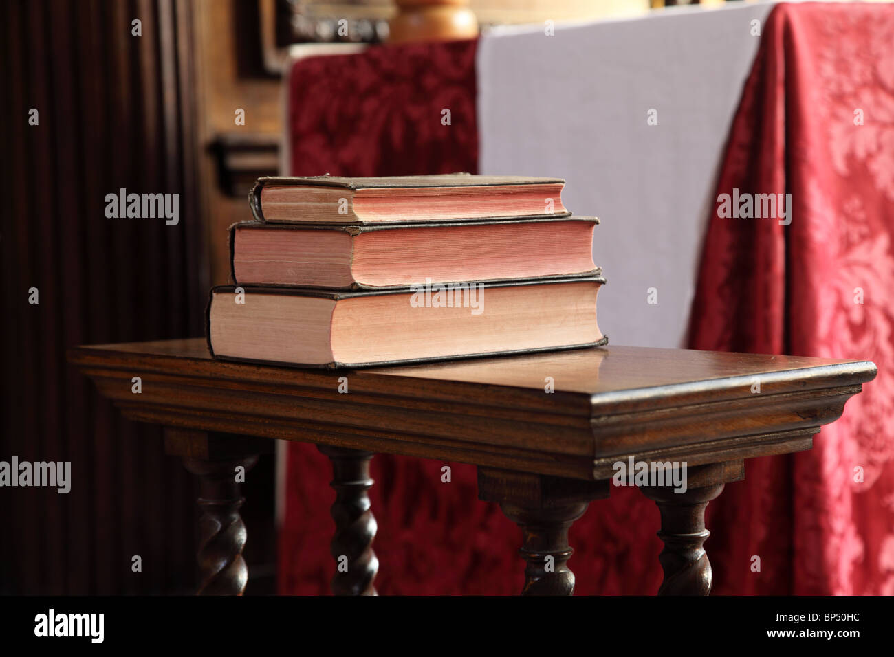 A stack of old books on the later of the Knights Templar Church, The Temple, City of London, EC4. - Stock Image