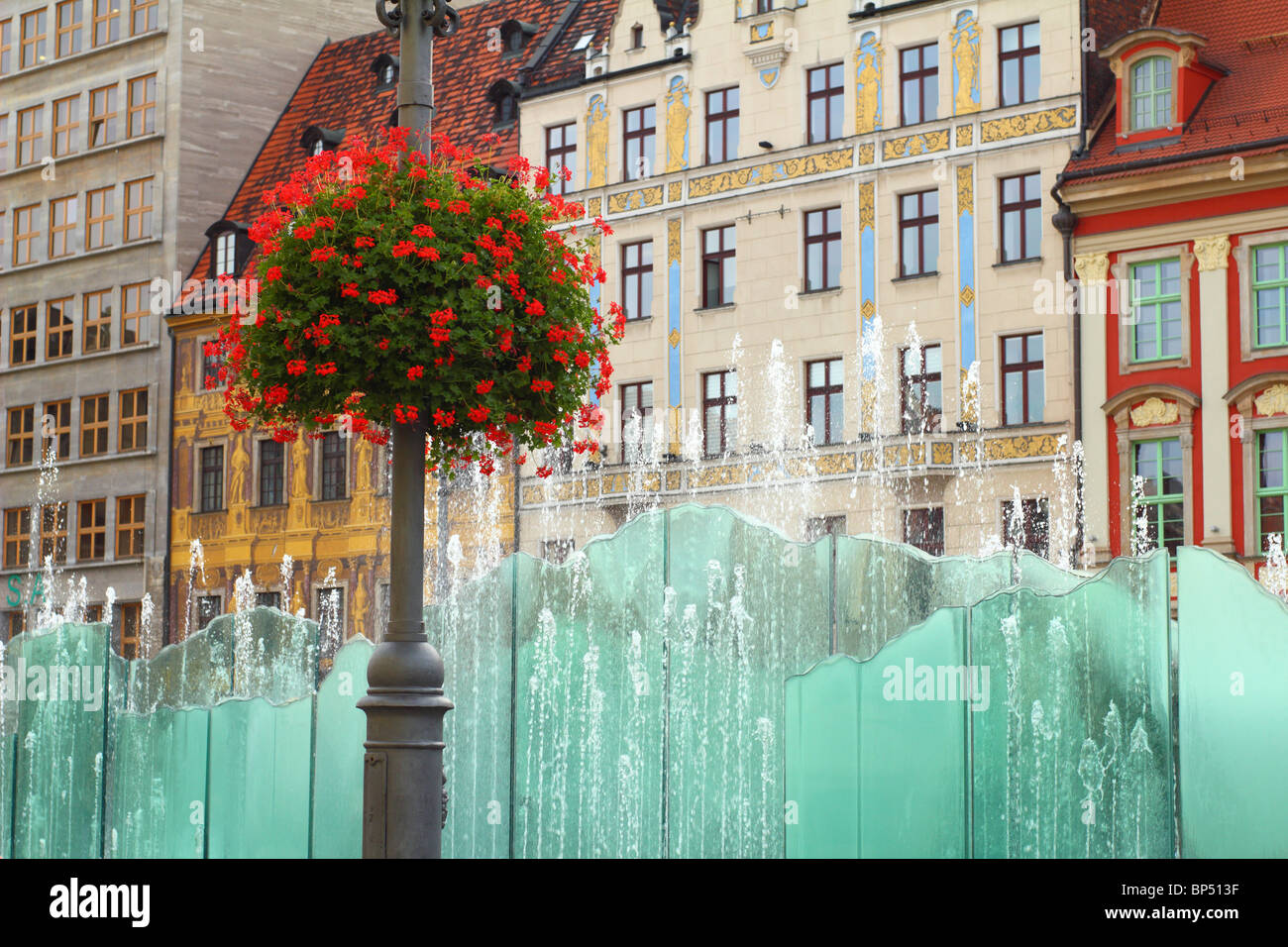Fountain Wroclaw Old Market Lower Silesia Poland - Stock Image