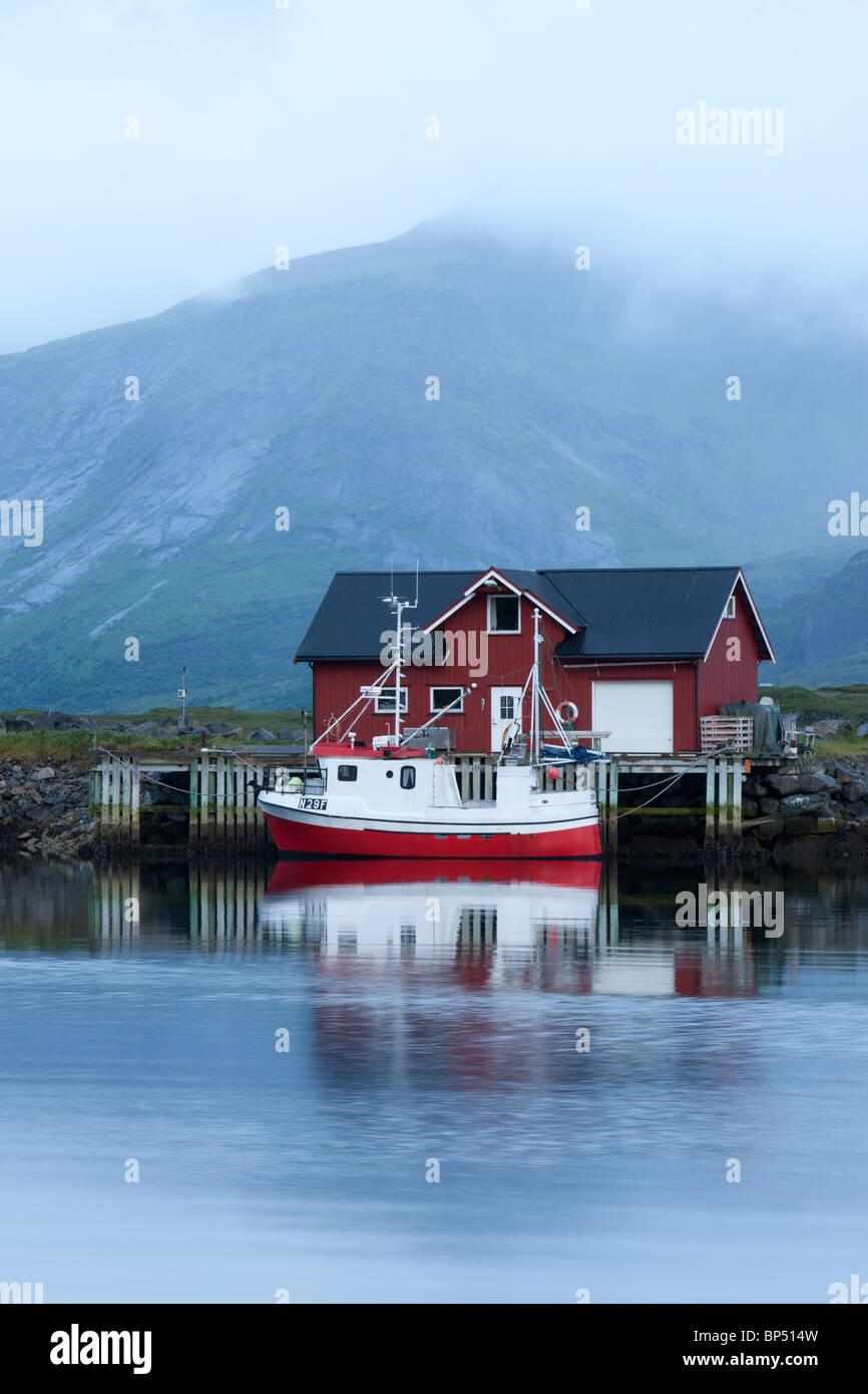 fishing boat in Ramberg, Lofoten, Norway - Stock Image