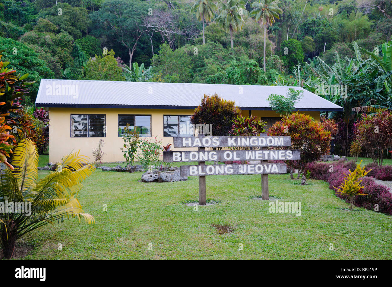 Kingdom Hall of the Jehovah's Witnesses in the South Pacific, at the extremities of their missionary activity - Stock Image