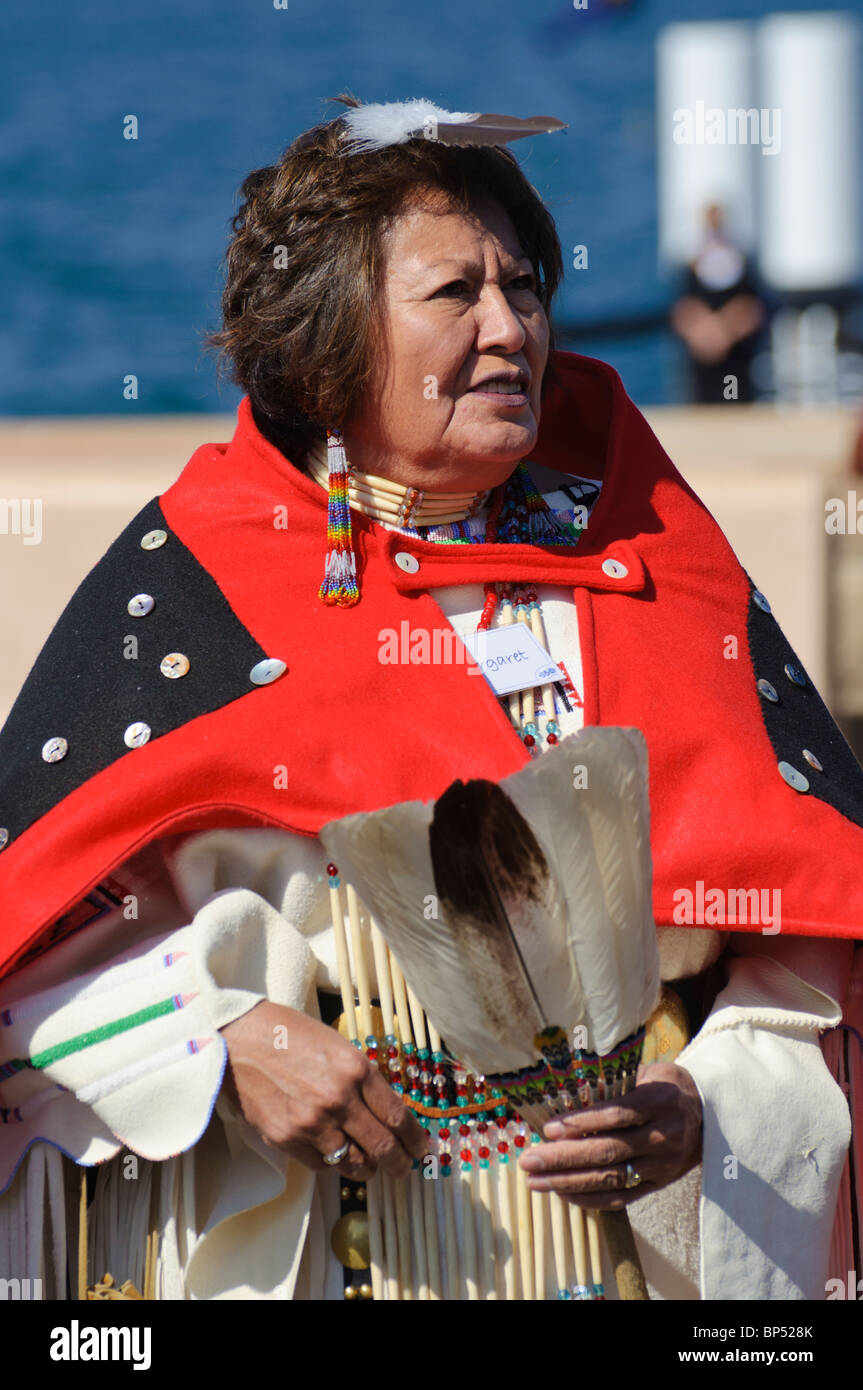 Female native American (Cheyenne) environmental activist in traditional costume. - Stock Image