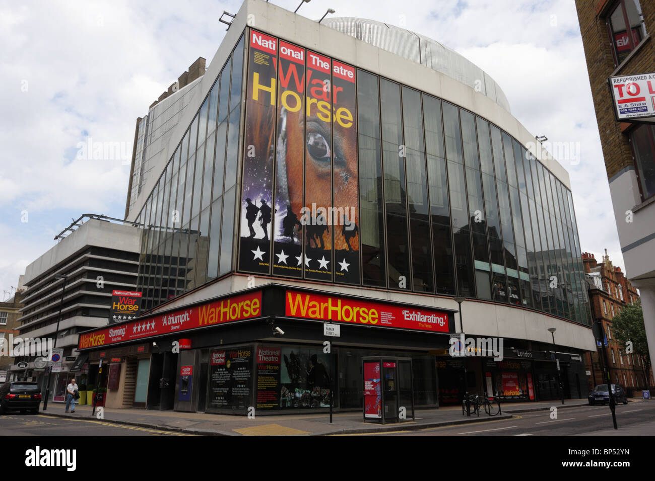 Currently showing the production of War Horse the New London Theatre, situated at the junction of Parker Street - Stock Image