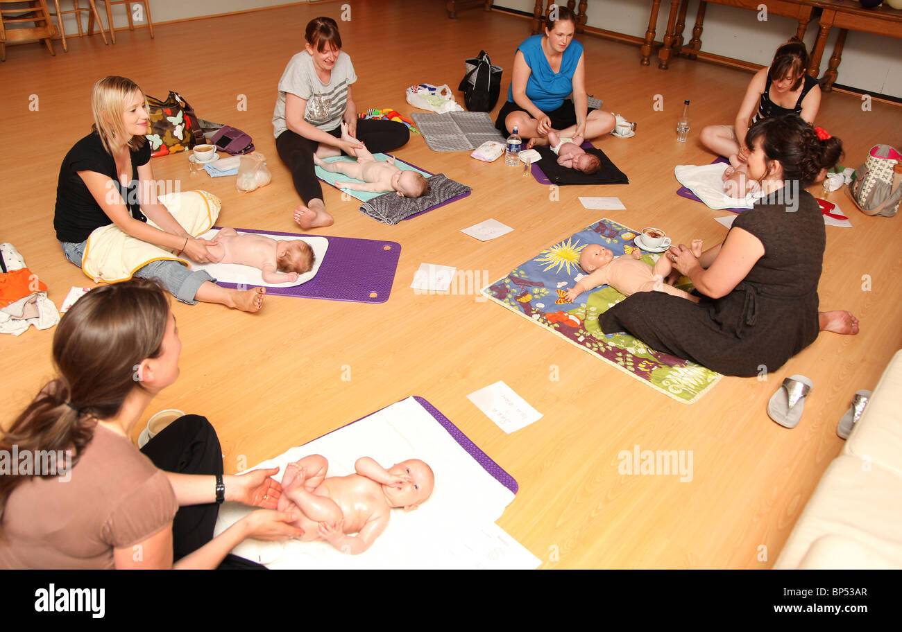 Baby massage. Stock Photo