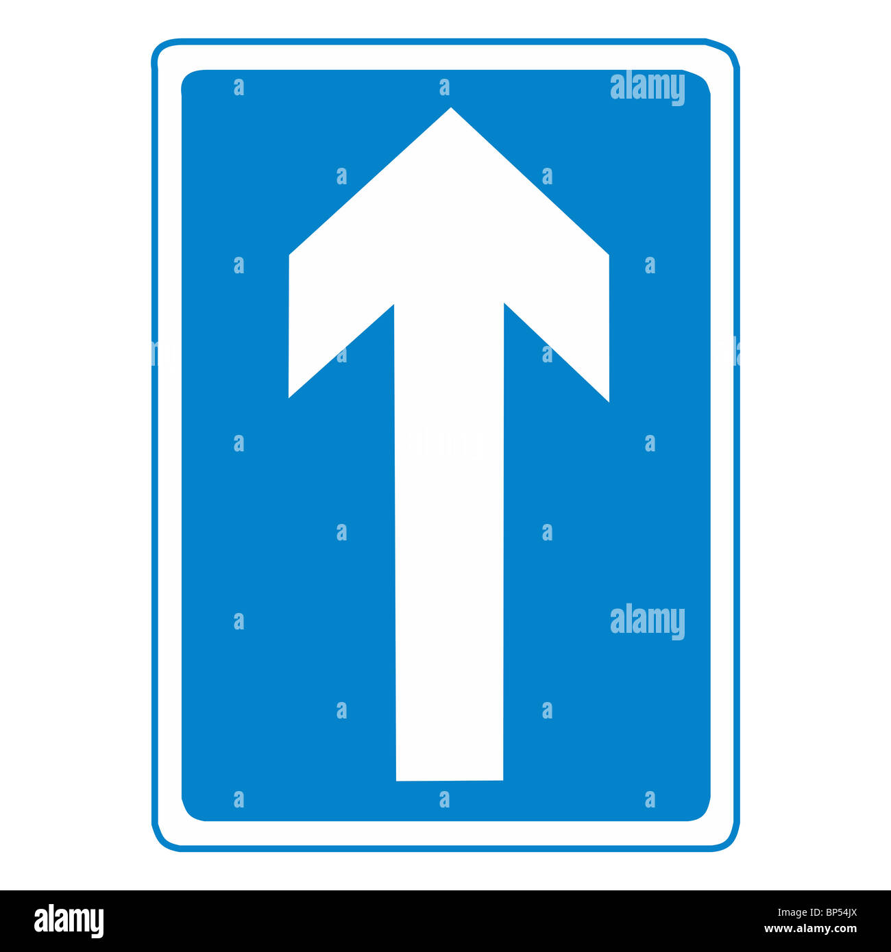 Uk Road Sign One Way Street Traffic Streets White Arrow Blue Stock