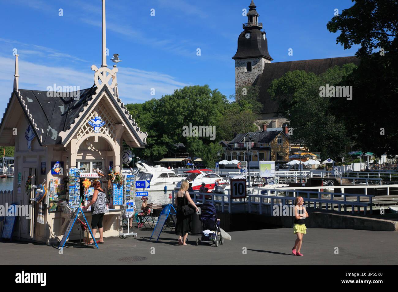 Finland, Naantali, harbour, seaside resort, people, Convent Church, - Stock Image
